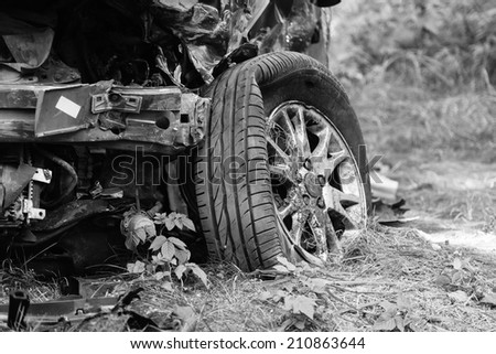 The car after the accident - stock photo
