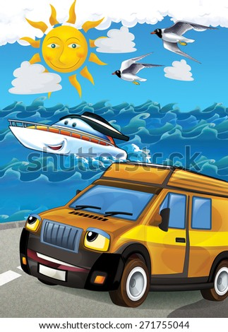 The car and the boat - illustration for the children - stock photo