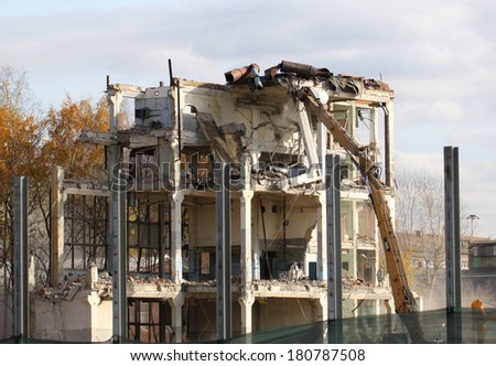 The car breaks down building - stock photo