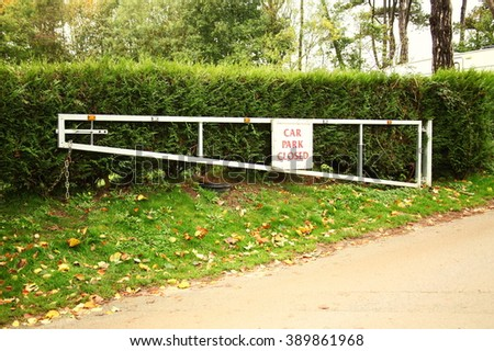 The car park close sign on car park metal gate represent  the traffic sign and road signage concept related idea. - stock photo