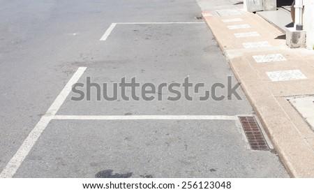 The car park surface black asphalt road. - stock photo