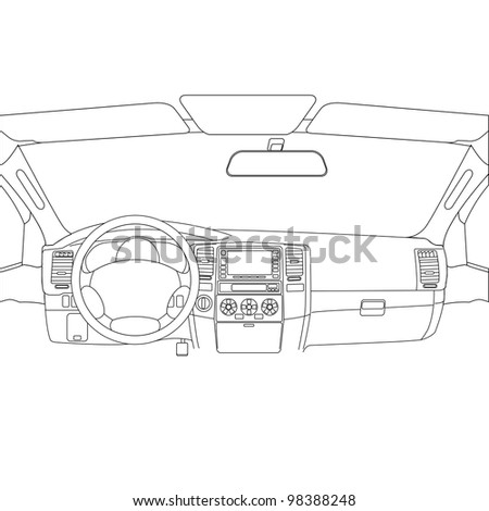 The car without a driver on the road. Vector version also available in portfolio. - stock photo