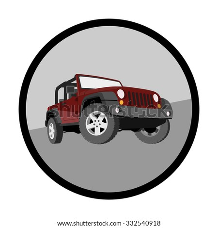 The car without a roof terrain. Photo illustration. - stock photo