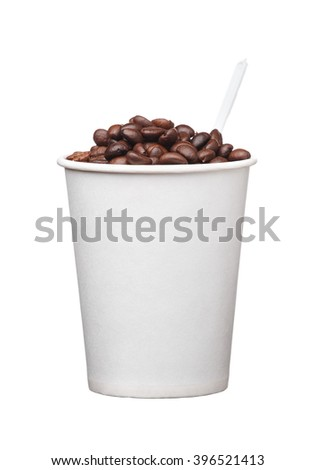 the cardboard disposable cup with coffee and spoon on white background