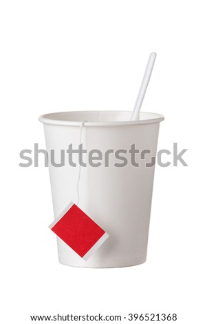 the cardboard disposable cup with tea bag and spoon on white background - stock photo