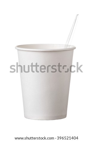 the cardboard disposable cup with  transparent spoon isolated on white background