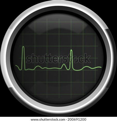 The cardiogram on the screen of a retro cardiomonitor in green tones, background - stock photo