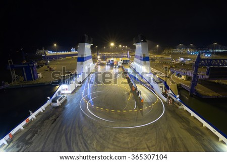 The Cargo ferry in the harbour.  - stock photo