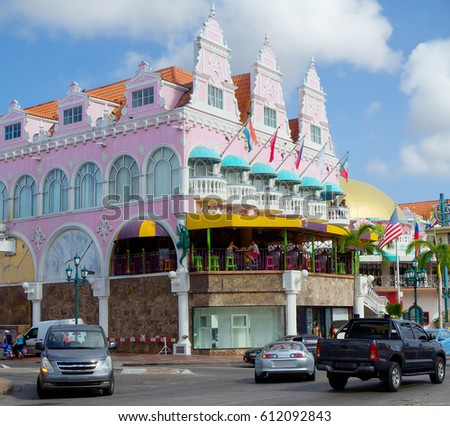 The Caribbean Architecture Of Island Aruba City Abounds With Buildings