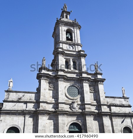 The Carmo Church is a 17th-century church in Braga, Portugal, with a latin cross floor plan, a single nave and the tower facade as the main facade. - stock photo
