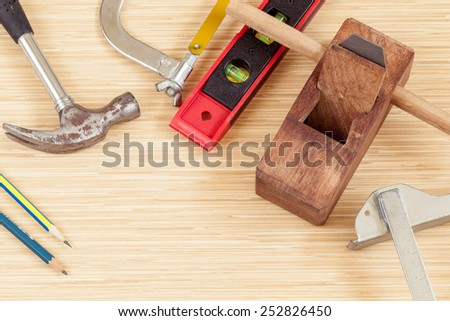 The carpenter tools and for woodwork. - stock photo
