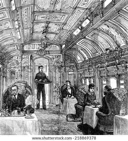 The cars of the Pacific Railroad. The dining car, vintage engraved illustration. Journal des Voyages, Travel Journal, (1879-80). - stock photo