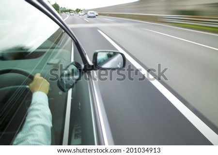 The cars running on the highway