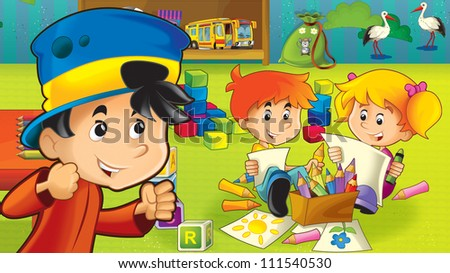 The cartoon kindergarten - fun and play - illustration for the children 10