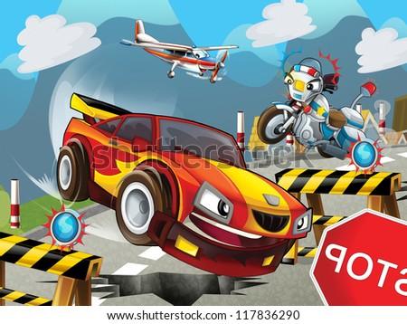 The cartoon speeding car - illustration for the children - stock photo