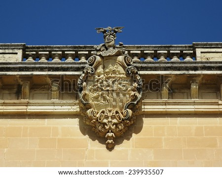 The Carved Shield on a building in Mdina historical center, Mdina, MALTA