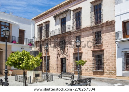The Casa Grande situated on Calle Huelva was built in 1745 and is the town's public art gallery, meeting point and cultural centre. Ayamonte, Huelva, Andalucia, Spain. - stock photo