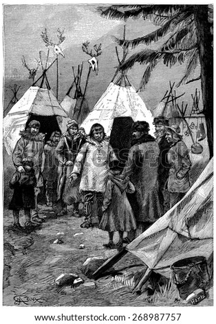 The Cascabel family wanted to get in with the natives, vintage engraved illustration. Jules Verne Cesar Cascabel, 1890.