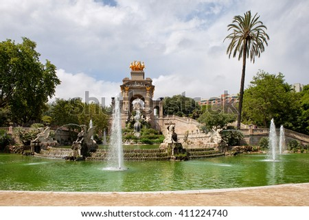 The Cascada monument with waterfall and fountain in Parc de la Ciutadella in Barcelona, Catalonia, Spain. - stock photo