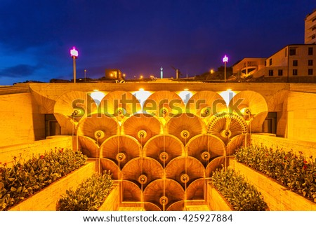 The Cascade at night. It is a giant stairway in Yerevan, Armenia.  - stock photo