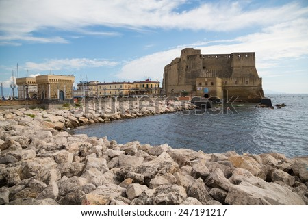 The Castel dell'Ovo city centre of Naples in Campania, Italy