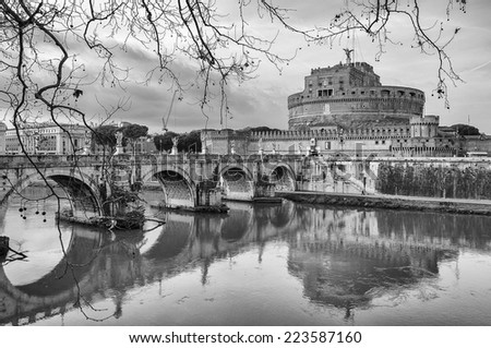 The Castel Sant Angelo situated in the Italien capital of Rome. - stock photo