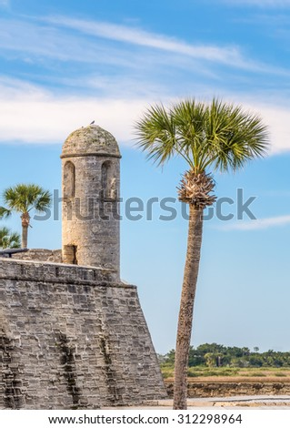 The Castillo de San Marcos, a coquina stone fort built by the Spanish stands hundreds of years later in St. Augustine, Florida. - stock photo
