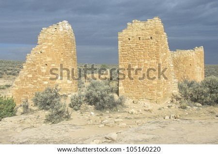 The Castle at  Hovenweep National Monument Indian ruins, UT - stock photo