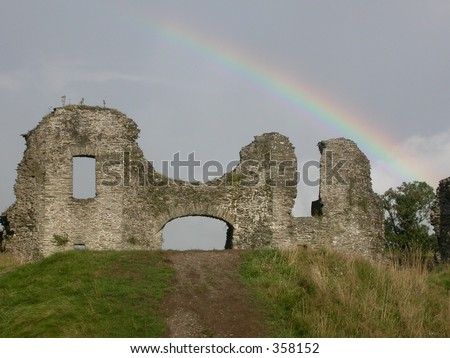 The Castle at Newcastle Emlyn Under a Rainbow