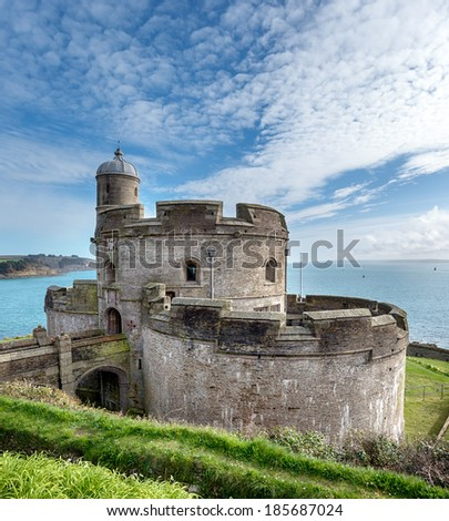The castle at St Mawes built in 1540 and one of Henry VIII's coastal artillery fortresses and sister castle to Pendennis on the Falmouth side of the shore. - stock photo