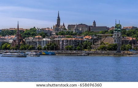 The Castle District and waterfront viewed from the east bank of the River Danube in Budapest during summertime