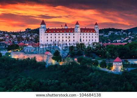 The castle in Bratislava (Slovakia) at sunset - stock photo