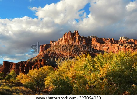the castle  in capitol reef national park, utah,  in autumn - stock photo