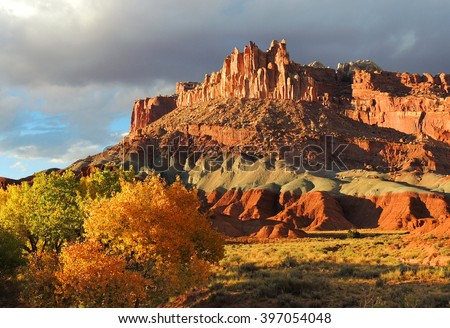 the castle in capitol reef national park, utah, in autumn