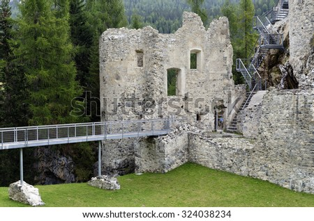 The Castle of Andraz, beyond the Falzarego pass, in the Lagazuoi and 5 Torri  area. Built in 1027, the castle is the symbol of the Livinallongo valley, Dolomites Mountains, Italy. - stock photo