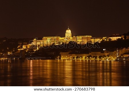 The Castle of Buda in Hungary, flooing river Danube - stock photo