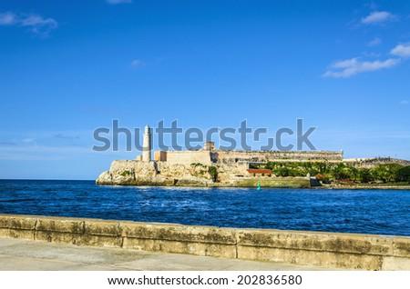 The castle of El Morro, a symbol of Havana - stock photo