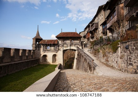 The Castle of Gruy�¨res (Ch�¢teau de Gruy�¨res), located in the medieval town of Gruy�¨res, Fribourg, is one of the most famous in Switzerland. It is a Swiss heritage site of national significance. - stock photo