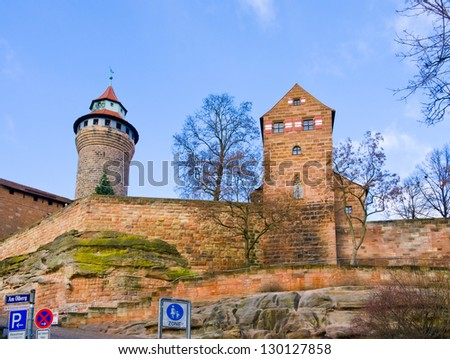 the Castle of Nuremberg, Bavaria, Germany. Nuremberg accommodates annually more than 2 millions  tourists - stock photo
