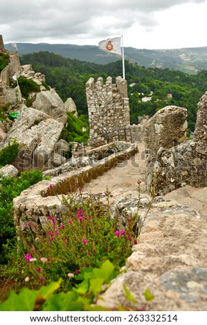 The Castle of the Moors is a hilltop medieval castle in Sintra, Portuga - stock photo