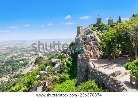 The Castle of the Moors is a hilltop medieval castle in Sintra, Portugal - stock photo