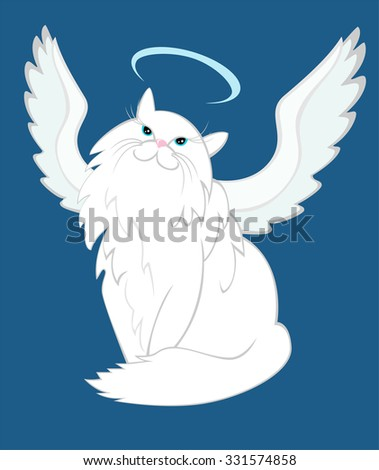 The cat of angelic nature with nimbus and wings humorous raster illustration hand drawn sketch. - stock photo