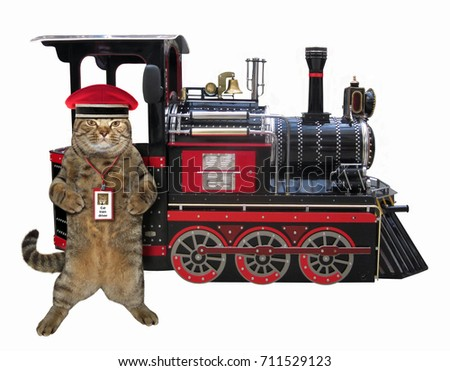 The cat railwayman is next to locomotive. White background.