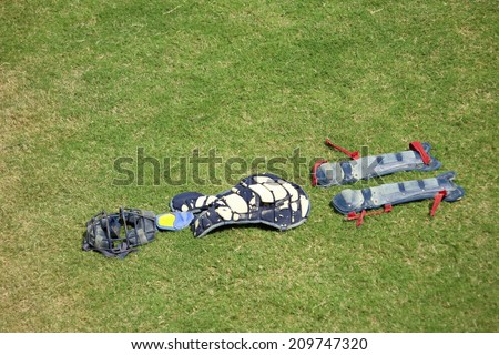 The Catcher'S Mitt On The Lawn - stock photo