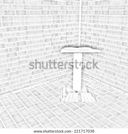 The cathedra in the corner of a brick. Pencil drawing - stock photo