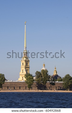 The cathedral and chapel in Paul Petropavlovskaya fortress, Saint Petersburg, Russia - stock photo
