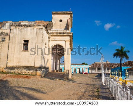 The Cathedral and colorful houses on the  colonial town of Trinidad in Cuba, a famous touristic landmark on the island