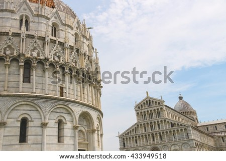 The Cathedral and the Baptisery of St. John in Pisa, Italy - stock photo