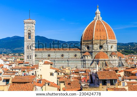 The Cathedral and the Brunelleschi Dome, Florence Italy - stock photo