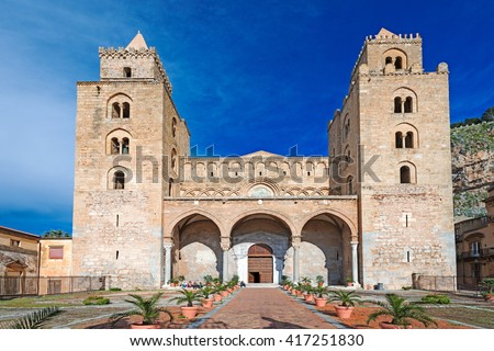 The Cathedral-Basilica of Cefalu (Duomo di Cefalu) is a Roman Catholic church in Cefalu, Sicily, Italy. The cathedral, dating from 1131, built in the Norman style. - stock photo